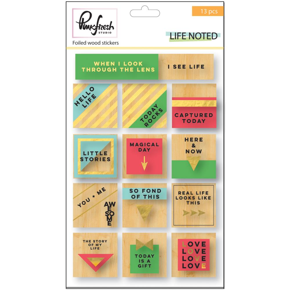 Pinkfresh Studio - Life Noted - Wood Foil Stickers