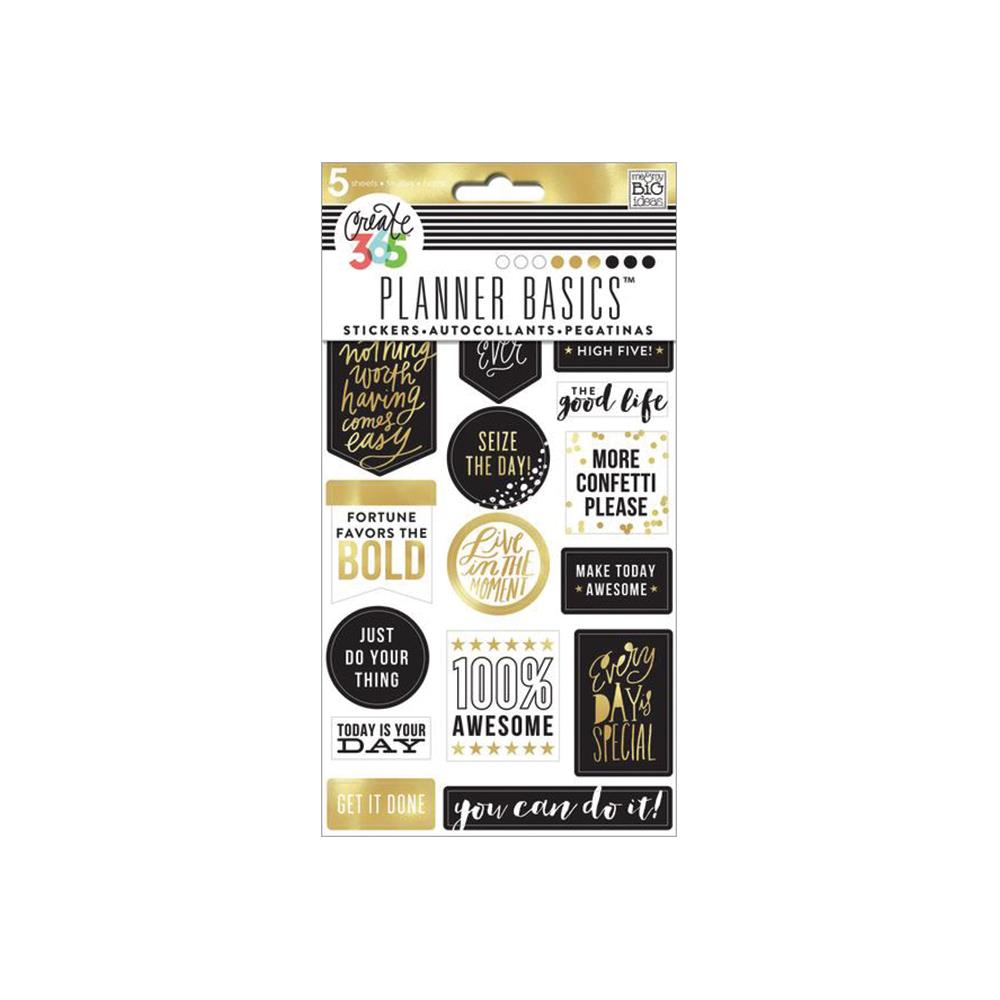 MAMBI - Create 365 Happy Planner - Black, White & Gold Stickers