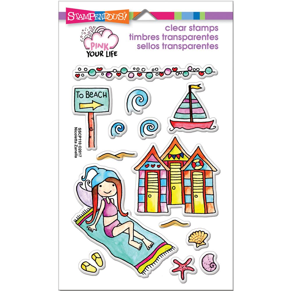 Stampendous - Pink Your Life - Beach Day - Stemple