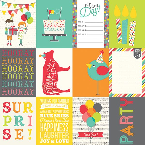 Simple Stories - Let's Party - 3x4 Journaling Card Elements