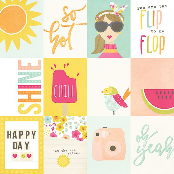 Simple Stories - Sunshine and Happiness - 3x4 Journaling Cards