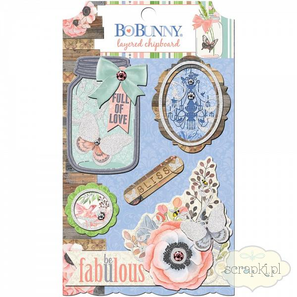 Bo Bunny - Butterfly Kisses - layered chipboards - chipboardy 3d